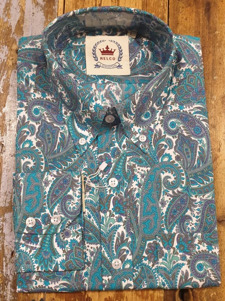 Relco-London-shirt-turquaze-paisley-€50,- S, M< L, XL, XXL